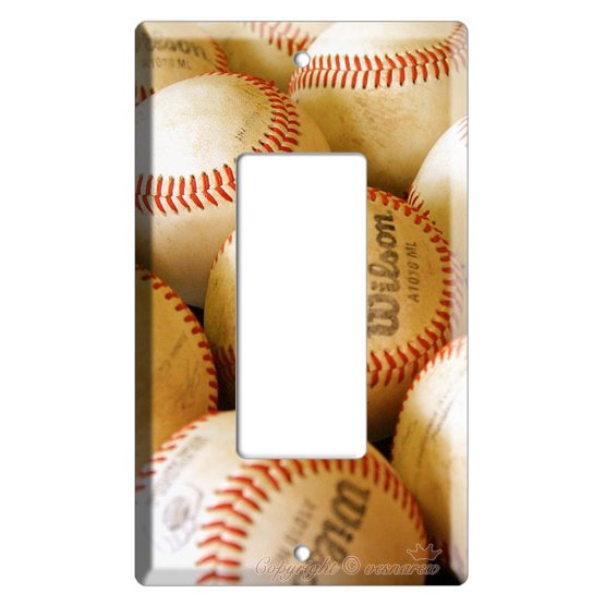NEW BASEBALL PLAYED OLD BALLS MLB SINGLE GFI SWITCH OR OUTLET COVER WALL PLATE COVER