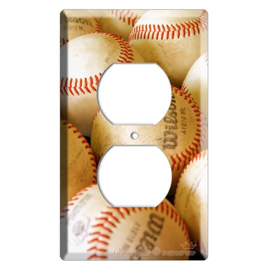 NEW BASEBALL PLAYED OLD BALLS MLB ELECTRIC POWER OUTLET COVER WALL PLATE COVER