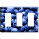 YAMMIE BLUEBERRY KITCHEN DECOR COVER PLATE DECORA ROCKER TRIPLE LIGHT WALL SWITCH PLATE