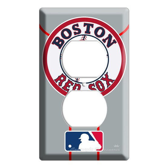 NEW BOSTON RED SOX BASEBALL MLB ELECTRICAL POWER OUTLET COVER WALL PLATE COVER ROOM DECOR