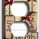 LIVE LAUGH LOVE WOOD STARS ELECTRICAL OUTLET WALLPLATE DECOR LIVING ROOM KITCHEN