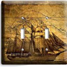 PIRATE SHIP OLD TREASURE MAP DOUBLE LIGHT SWITCH COVER BOYS BEDROOM ROOM DECOR