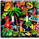 DANCING HAWAIIAN GIRLS FLOWERS PALM TREES DOUBLE LIGHT SWITCH WALL PLATE DECOR