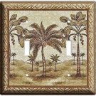 CLASSIC FLORIDA PALM TREES DOUBLE LIGHT SWITCH WALL PLATE REST AREA DECORATION