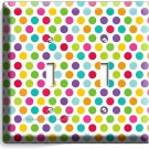 COLORFUL PASTEL POLKA DOT DOUBLE LIGHT SWITCH WALL PLATE COVER BABY NURSERY ROOM
