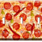 PEPPERONI ITALIAN PIZZA TRIPLE LIGHT SWITCH WALL PLATE DINING ROOM KITCHEN DECOR