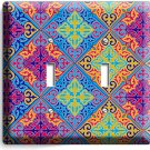 DAMASK ARABIC COLORFUL ORNAMENT DOUBLE LIGHT SWITCH WALL PLATE COVER ART DECOR