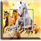 LIPIZZAN STALLION & MUSTANG HORSES DOUBLE GFCI LIGHT SWITCH WALL PLATE ART COVER