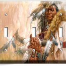 NATIVE AMERICAN INDIAN CHIEF TRIPLE LIGHT SWITCH WALL PLATE COVER ROOM ART DECOR