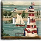 LIGHTHOUSE SAIL BOAT DOUBLE LIGHT SWITCH WALL PLATE COVER LIVING ROOM BATHROOM