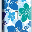 BLUE HAWAIIAN HIBISCUS FLOWERS SINGLE LIGHT SWITCH WALL PLATE COVER ROOM DECOR