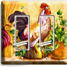 COUNTRY FARM ROOSTER HENS RUSTIC DOUBLE GFCI LIGHT SWITCH WALL PLATE COVER DECOR