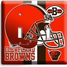 CLEVELAND BROWNS NFL FOOTBALL TEAM LOGO MAN CAVE DOUBLE LIGHT SWITCH WALL PLATE