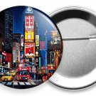 NIGHT MANHATTAN NEW YORK CITY THAT NEVER SLEEPS TIMES SQUARE SQ PIN BUTTON FLAIR
