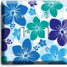BLUE HAWAIIAN HIBISCUS FLOWERS DOUBLE LIGHT SWITCH WALL PLATE COVER ROOM DECOR
