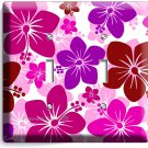 PINK HAWAIIAN HIBISCUS FLOWERS DOUBLE LIGHT SWITCH WALL PLATE COVER ROOM DECOR