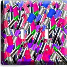 RED BLUE LIPSTICK BEAUTY SALON BUDUAR DOUBLE LIGHT SWITCH WALL PLATE COVER ROOM