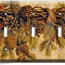 PINE CONES TRIPLE LIGHT SWITCH WALL PLATE COVER HOME WOOD CABIN ART RUSTIC DECOR