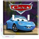 DISNEY'S CARS 3 SALLY PORSCHE DOUBLE LIGHT SWITCH PLATE TV GAME ROOM DECORATION