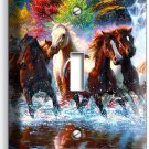 WILD RUNNING HORSES FOREST WATERFALL RIVER SINGLE LIGHT SWITCH WALL PLATE COVER