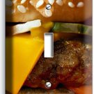 CHEESEBURGER JUICY BEEF BURGER SINGLE LIGHT SWITCH WALLPLATE COVER KITCHEN DECOR