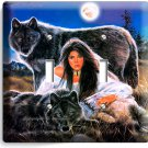 BLACK WOLFS NATIVE INDIAN GIRL DOUBLE LIGHT SWITCH WALL PLATE COVER HOME DECOR