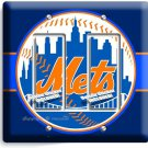 NEW YORK METS BASEBALL TEAM DOUBLE GFCI LIGHT SWITCH WALL PLATE COVER BOYS ROOM