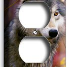 GRAY WOLF WOODS FOREST DUPLEX OUTLET WALL PLATE COVER HOME ROOM MAN CAVE DECOR