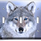 WILD GRAY WOLF W BLUE EYES SNOW TRIPLE LIGHT SWITCH WALL PLATE COVER HOME DECOR