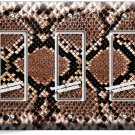 SNAKE SKIN ANIMAL PRINTS TRIPLE GFCI LIGHT SWITCH WALL PLATE COVER RUSTIC DECOR