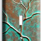 OLD RUSTED WORN OUT COPPER GREEN BRONZE PATINA SINGLE LIGHT SWITCH WALL PLATE
