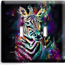 COLORFUL ZEBRA DOUBLE LIGHT SWITCH WALL PLATE COVER ART STUDIO ROOM HOME DECOR