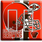 CLEVELAND BROWNS NFL FOOTBALL TEAM GFCI MAN CAVE DOUBLE LIGHT SWITCH WALL PLATE