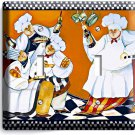 DRINKING RED WINE FRENCH CHEFS DOUBLE LIGHT SWITCH WALL PLATE COVER KITCHEN ART