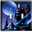 BATMAN VS SUPERMAN WINTER SNOW DOUBLE LIGHT SWITCH WALL PLATE COVER BOY ROOM ART