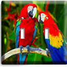 COLORFUL TROPICAL MACAW PARROTS DOUBLE LIGHT SWITCH WALL PLATE COVER HOME DECOR