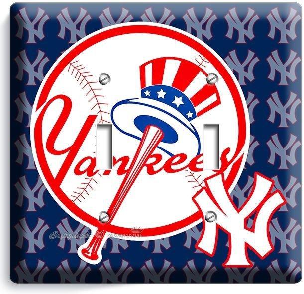 BASEBALL NEW YORK YANKEES TEAM LOGO DOUBLE LIGHT SWITCH GAME TV ROOM HOME DECOR