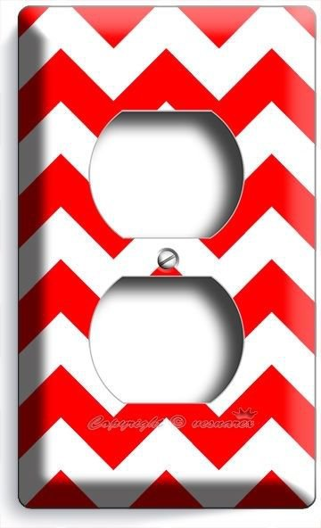 RED CHEVRON ZIG ZAG PATTERN DUPLEX OUTLET WALL PLATE COVER HOME KIDS ROOM DECOR
