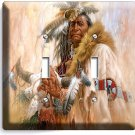 NATIVE AMERICAN INDIAN CHIEF DOUBLE LIGHT SWITCH WALL PLATE COVER ROOM ART DECOR