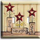 LIVE LAUGH LOVE DOUBLE LIGHT SWITCH WALL PLATE KITCHEN DECOR LIVING ROOM BEDROOM