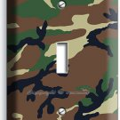GREEN MILITARY ARMY CAMO CAMOUFLAGE SINGLE LIGHT SWITCH WALL PLATE MAN CAVE DECO