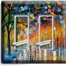 COLORFUL RAINY DAY DOUBLE GFCI LIGHT SWITCH WALL PLATE COVER NY ART STUDIO DECOR