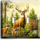 WHITETAIL WILD DEER BUCK ANTLERS DOUBLE LIGHT SWITCH WALL PLATE COVER HOME DECOR
