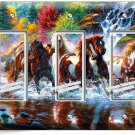WILD RUNNING HORSES FOREST WATERFALL TRIPLE GFCI LIGHT SWITCH WALL PLATE COVER
