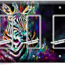 COLORFUL ZEBRA TRIPLE GFI LIGHT SWITCH WALL PLATE COVER ART STUDIO BEDROOM DECOR
