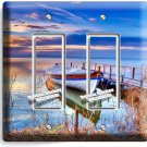 BOAT ON THE LAKE TWILIGHT DOUBLE GFCI LIGHT SWITCH WALL PLATE COVER DREAMY DECOR
