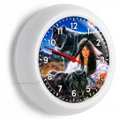 NEW BLACK WOLFS NATIVE INDIAN GIRL WALL CLOCK BEDROOM HUNTING CABIN OFFICE DECOR