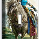 WARRIOR GIRL ON A WILD HORSE SINGLE LIGHT SWITCH WALL PLATE TEEN BEDROOM TV ROOM