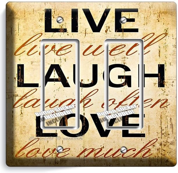 LIVE LAUGH LOVE RUSTIC COUNTRY DOUBLE GFI LIGHT SWITCH WALL PLATE BEDROOM LIVING
