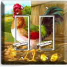 COUNTRY FARM ROOSTER CHICKS RUSTIC BARN DOUBLE GFI LIGHT SWITCH WALL PLATE COVER